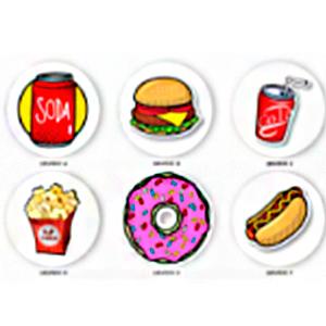 Juego de 6 portavasos diseño Fast Food de 10cm