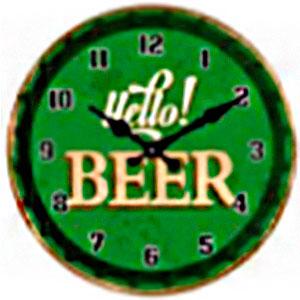 Reloj de pared diseño letrero de Cerveza en color verde de 30cm