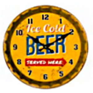 Reloj de pared diseño letrero de Cerveza en color amarillo de 30cm