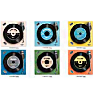 Juego de 6 portavasos diseño tornamesa de discos de Vinil de 10cm