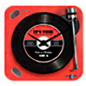 Reloj cuadrado diseño tornamesa de discos de Vinil en color rojo de 30x30cm