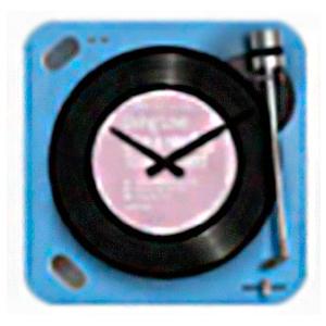Reloj cuadrado diseño tornamesa de discos de Vinil en color azul de 30x30cm