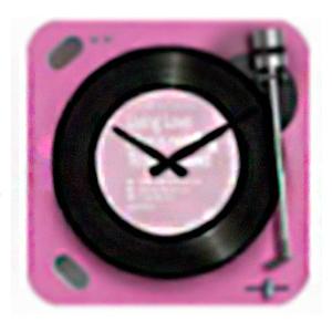 Reloj cuadrado diseño tornamesa de discos de Vinil en color rosa de 30x30cm
