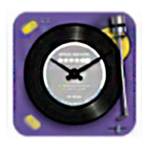 Reloj cuadrado diseño tornamesa de discos de Vinil en color morado de 30x30cm