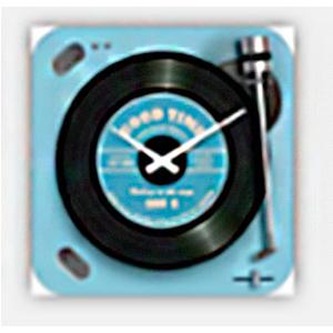 Reloj cuadrado diseño tornamesa de discos de Vinil en color azul de 20cm