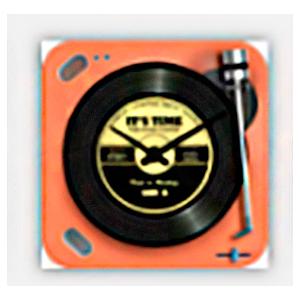 Reloj cuadrado diseño tornamesa de discos de Vinil en color naranja de 20cm