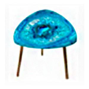 Mesa para café triangular diseño cuarzo azul de 40cm