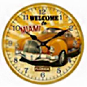 Reloj de pared diseño Auto amarillo de 30cm