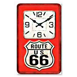 Reloj rectangular diseño bomba de gasolina de ruta 66 rojo de 25X40cm