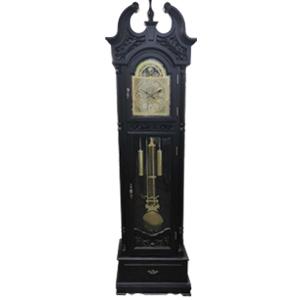 Reloj de madera café de pie con péndulo y gravado de 220x66x38.5cm