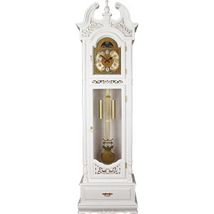 Reloj de madera blanco de pie con péndulo y gravado de 220x66x38.5cm