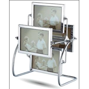 Portarretratos de acero para 4 fotos dobles giratorio
