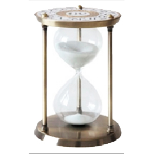 Reloj de arena de 30 min. en base de metal dorado de 24cm