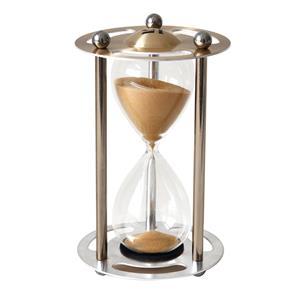 Reloj de arena de 15 min. en base de metal dorado de 18cm
