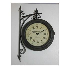 Reloj de pared negro estilo estación de trenes 47.5x12x80cm