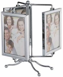 Portarretratos de acero para 3 fotos dobles giratorio