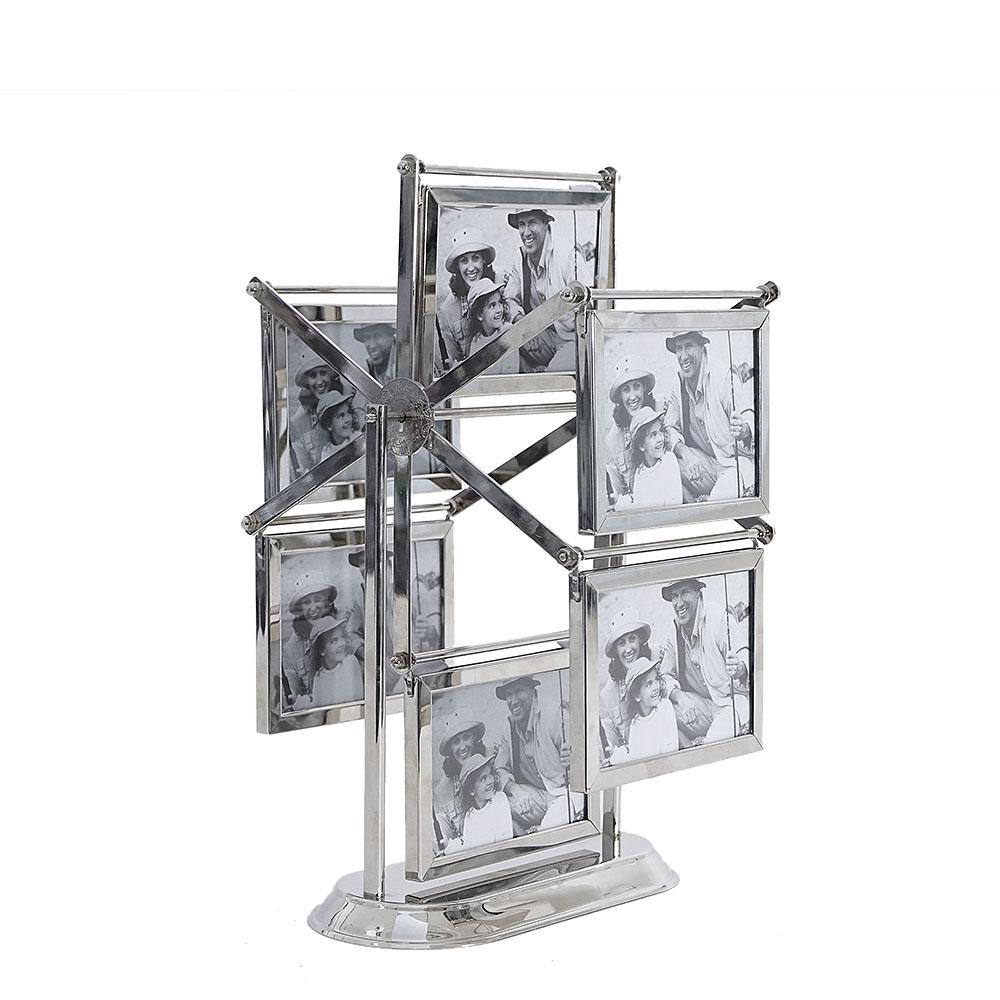 Portarretratos de acero diseño rueda de la fortuna para 6 fotos