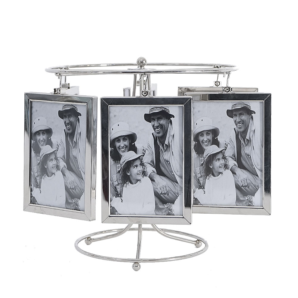 Portarretratos de acero para 6 fotos dobles giratorio