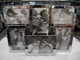 Portarretrato de metal plateado para 6 fotos