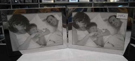 Portarretrato de metal plateado plegable para 2 fotos horizontal