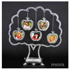 Portarretrato diseño árbol con de brillantes para 5 fotos diseño manzanas de 21x8x19cm