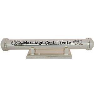 Tubo de metal con base para Certificado de Matrimonio con caja y base de 24x3.5x3.5cm