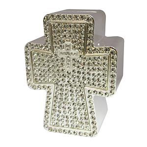 Alcancía de metal diseño cruz con incrustaciones de piedras de 78x5x10cm
