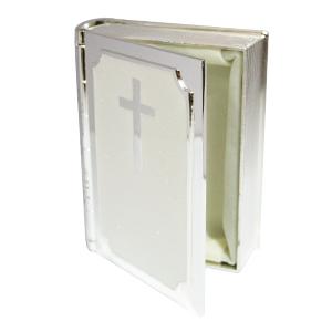 Caja de metal portalibros con diseño de cruz plata de 7x3x10cm