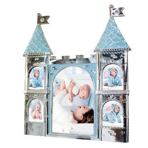 Portarretrato de metal diseño castillo azul de 25x2x28cm