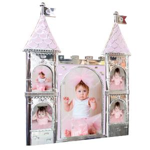 Portarretrato de metal diseño castillo rosa de 25x2x28cm