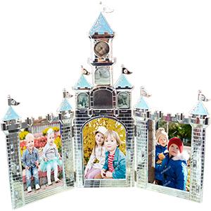 Portarretrato de metal triple diseño castillo de 43x2x40cm