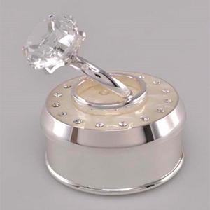 Caja de metal redonda blanca diseño anillo con diamante de 7.5x7.5x9cm