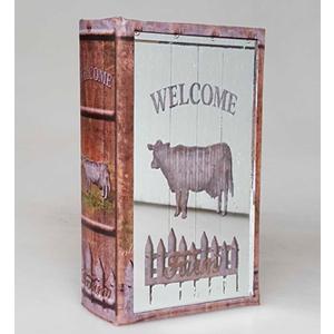 Caja portalibros diseño Letrero de vaca de 24x16x5cm