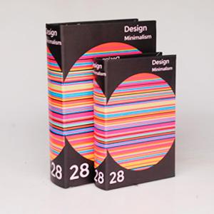 Juego de 2 cajas portalibros diseño colores de 33x22x7/27x18x7cm