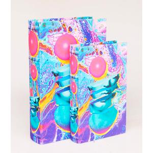 Juego de 2 cajas portalibros diseño colores psicodélicos de 33x22x7/27x18x7cm