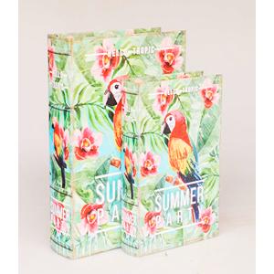 Juego de 2 cajas portalibros diseño Guacamaya en bosque tropical de 33x22x7/27x18x7cm