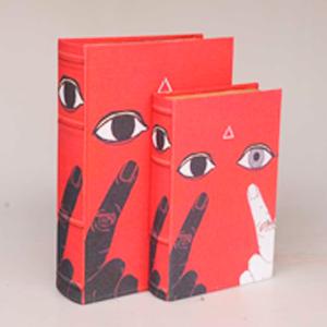 Juego de 2 cajas portalibros diseño ojos y dedos de 33x22x7/27x18x7cm