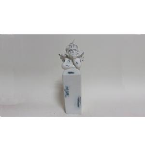 Vela de Angel en pedestal terminado antiguo de 24cm