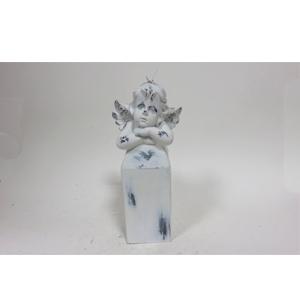 Vela de Angel en pedestal terminado antiguo de 18cm