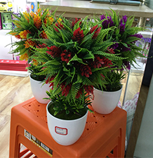 Helecho verde con flores naranjas en maceta de melamina blanca