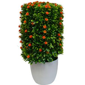 Topiario verde c/flores naranjas en maceta de melamina blanca