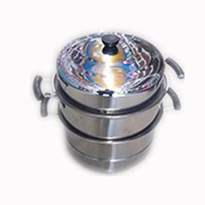 Olla de acero c/2 niveles y tapa de 32cm