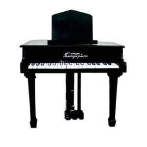 Piano de madera color negro con banco de de 55x58x52cm