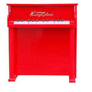 Piano de madera rojo con banco de 45x25.5x50cm