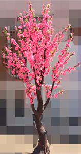Arbol con flores de durazno rosas