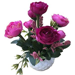 Maceta de ceramica con flor de Rosas rosas