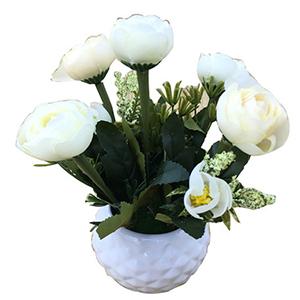 Maceta de ceramica con flor de  Rosas blancas