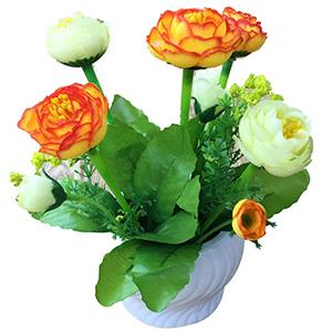 Maceta de ceramica con flor de Rosas naranja