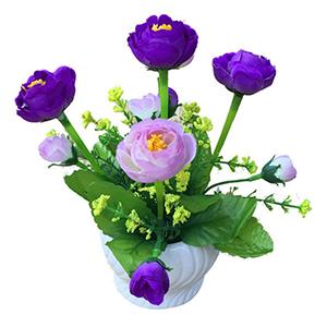 Maceta de ceramica con flor de  Rosas moradas