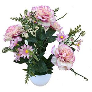 Maceta de melamina con flores de clavel rosas